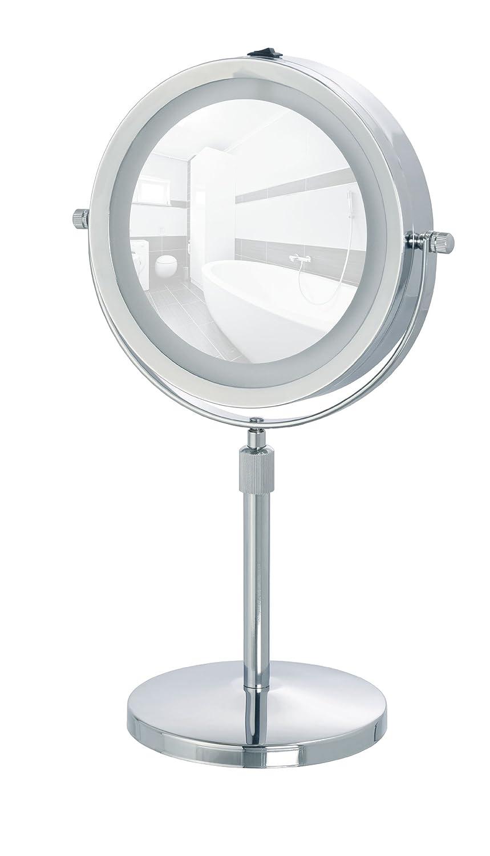 WENKO 3656540100 LED Kosmetikspiegel Lumi, Spiegelfläche ø 13cm, 500% Vergrößerung, Stahl, 21 x 35-45 x 13.5 cm, Chrom 500% Vergrößerung