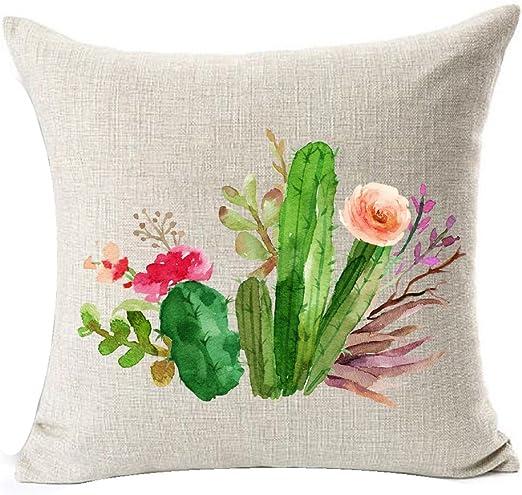 Polyester Tropical Plants Waist Throw Pillow Case Sofa Cushion Cover Home Decor