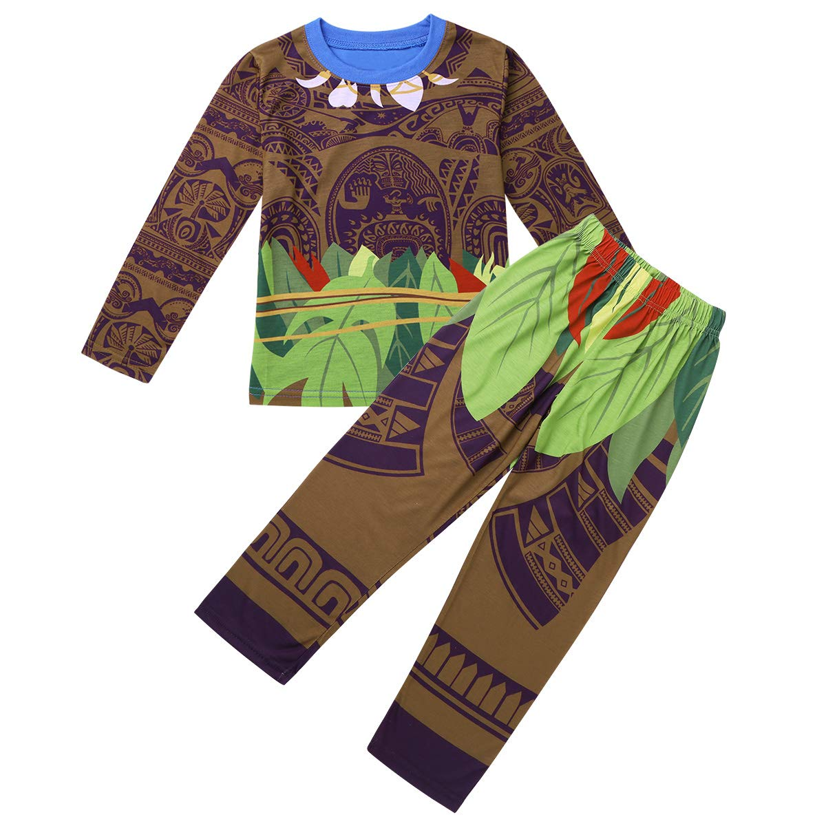 dPois Maui Toddler Kids Boys Pajamas Sets Tops with Pants Fancy Costumes Cosplay Outfits Long Sleeves (Brown&Green) 5-6