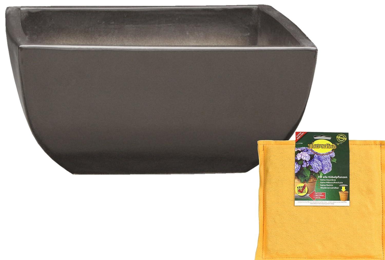 Spar Set: Keramik Pflanzschale Grabschale inclusive FlowerPad Profi Drainage-Sytem quadratisch frostfest Größe 50 x 50 x 21 cm, Farbe Anthrazit, Form 220.050.70 mit Bodenloch - Qualität von Hentschke Keramik
