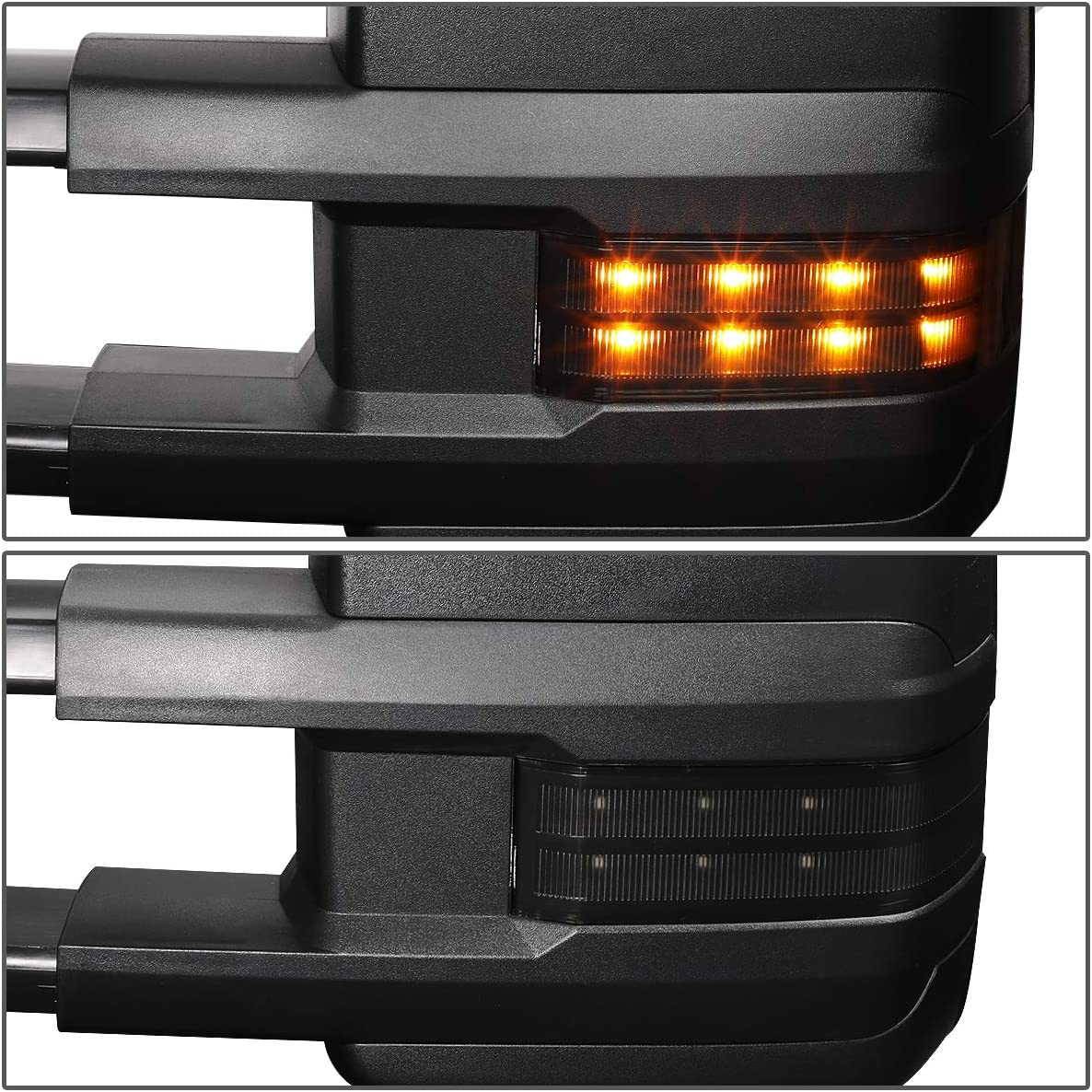 Smoke Left//Driver ,Black DNA MOTORING TWM-030-T888-BK-SM-L Powered+Heated Towing Mirror Set w//LED Turn Signal