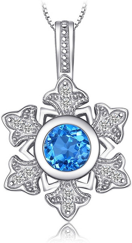 CS-DB Pendants Snowflake 1.1ct Genuine Swis Blue Topaz Silver Necklaces