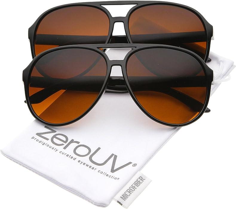 b2f3c24048014 Amazon.com  Retro Large Blue Blocking Lens Aviator Sunglasses 60mm ...