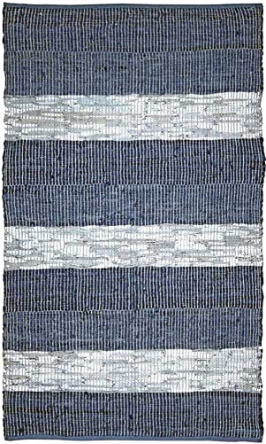 Matador Leather Chindi Handmade Rug, 9 by 12-Feet, Blue