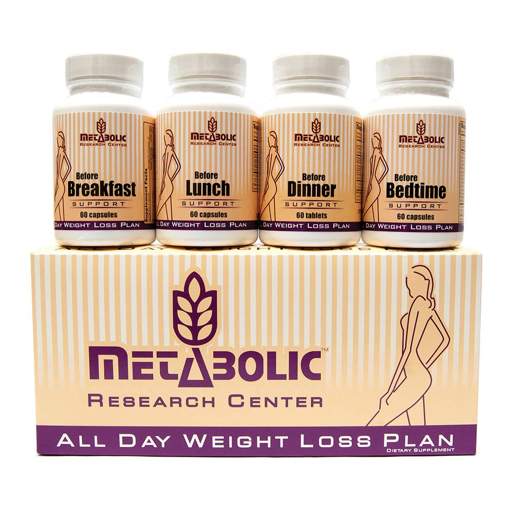 All Day Weight Loss Plan by Metabolic Research Center, 4 Advanced Weight Loss Supplements, 1 Month Supply