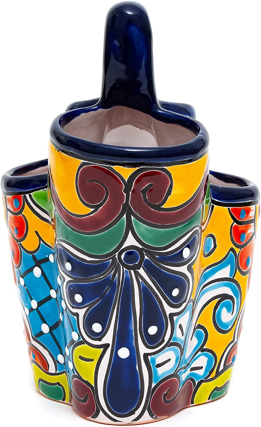 Storage Organization Cobalt Blue Multi Jayde N Grey Talavera Hand Painted Ceramic Utensil Holder Canister Crock For Cooking Spoons An Organized Colorful Kitchen Dining