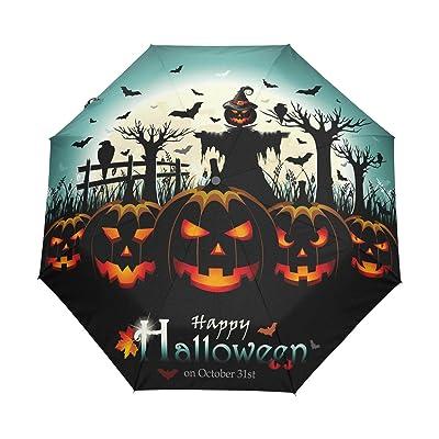 WOZO Happy Halloween Pumpkin Scarecrow 3 Folds Auto Open Close Umbrella