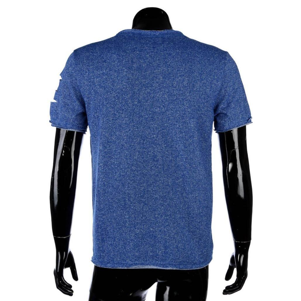 9d3c3bddad7c KEERADS Mens Fashion Casual Short Sleeve Slim Round Neck Tee Pullover T  Shirts (UK L   Tag XL