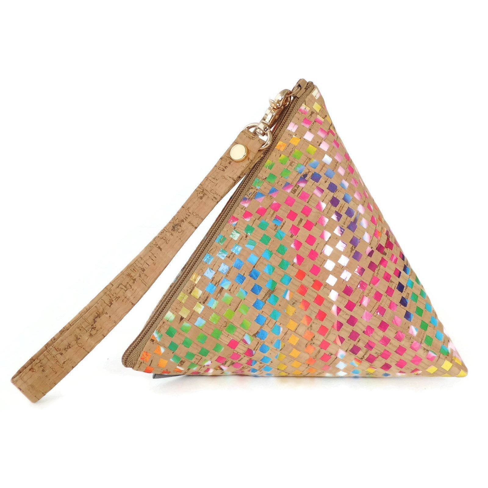 Triangle Cork Makeup Pouch or Clutch Bag in Multicolor