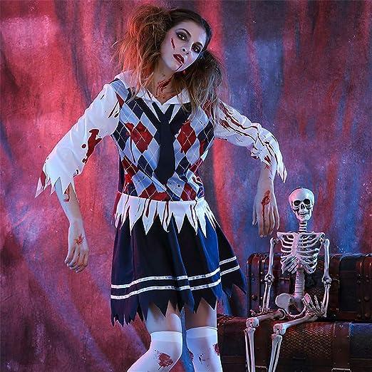 MOSSAGE Disfraz de Zombie de niña de Secundaria para Mujer Disfraz ...