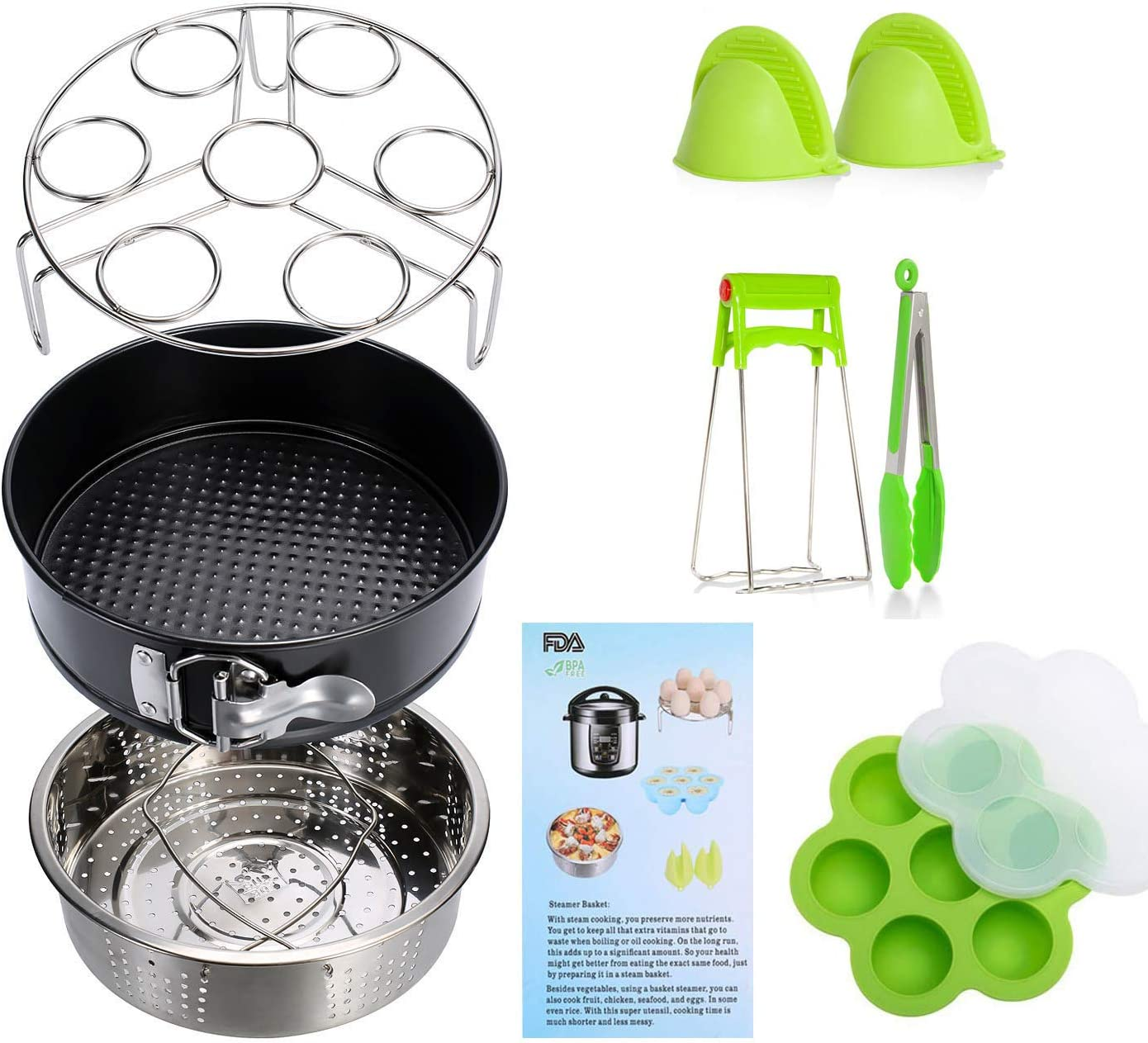 Instant Pot Accessories Set 11 Pcs 5,6,8Qt Steamer Basket Non-Stick Springform Pan, Steamer Basket, Egg Steamer Rack, Silicone Kitchen Tongs, Mini Mitts Fits 5,6,8Qt Instant Pot Pressure Cooker(green)