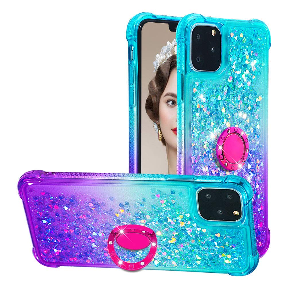 Tznzxm iPhone 11 Pro 2019 5.8'' Case, iPhone XI Case,Glitter TPU Reinforced Corners Gradient Quicksand Shockproof Bling Sparkly Defender 360 Ring Kickstand Protective Case For iPhone 11 Pro Mint/Purple by Tznzxm