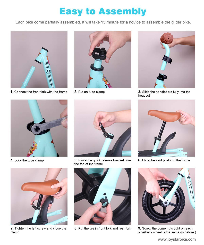 JOYSTAR Balance Bike with Footrest for 1-5 Years Boys /& Girls 10 /& 12 Adjustable Glider Bike for Kids Green Blue Pink