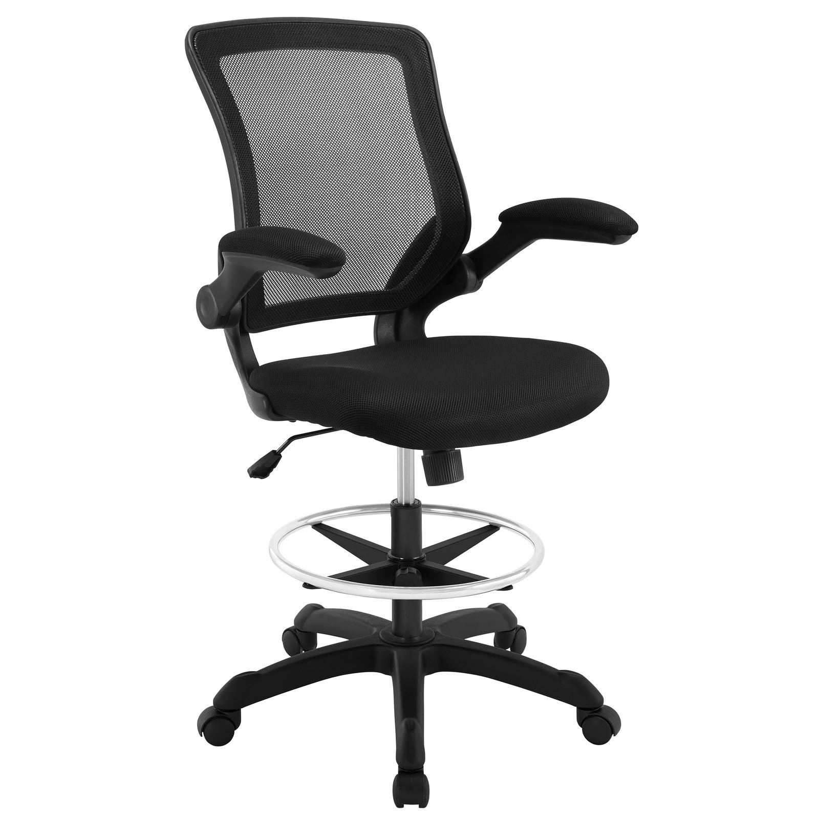 Modway Veer Drafting Chair In Black Mesh With Flip-Up Arms - Reception Desk Chair
