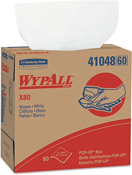 Kimberly Clark 41026 Wypall X80 1//4 Fold Wipers 4-Pack White 50 Sheets