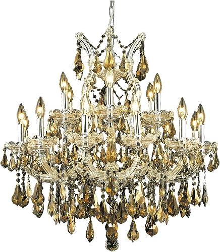 Elegant Lighting 2801D30C-GT/RC Royal Cut Smoky Golden Teak Crystal Maria Theresa 19-Light
