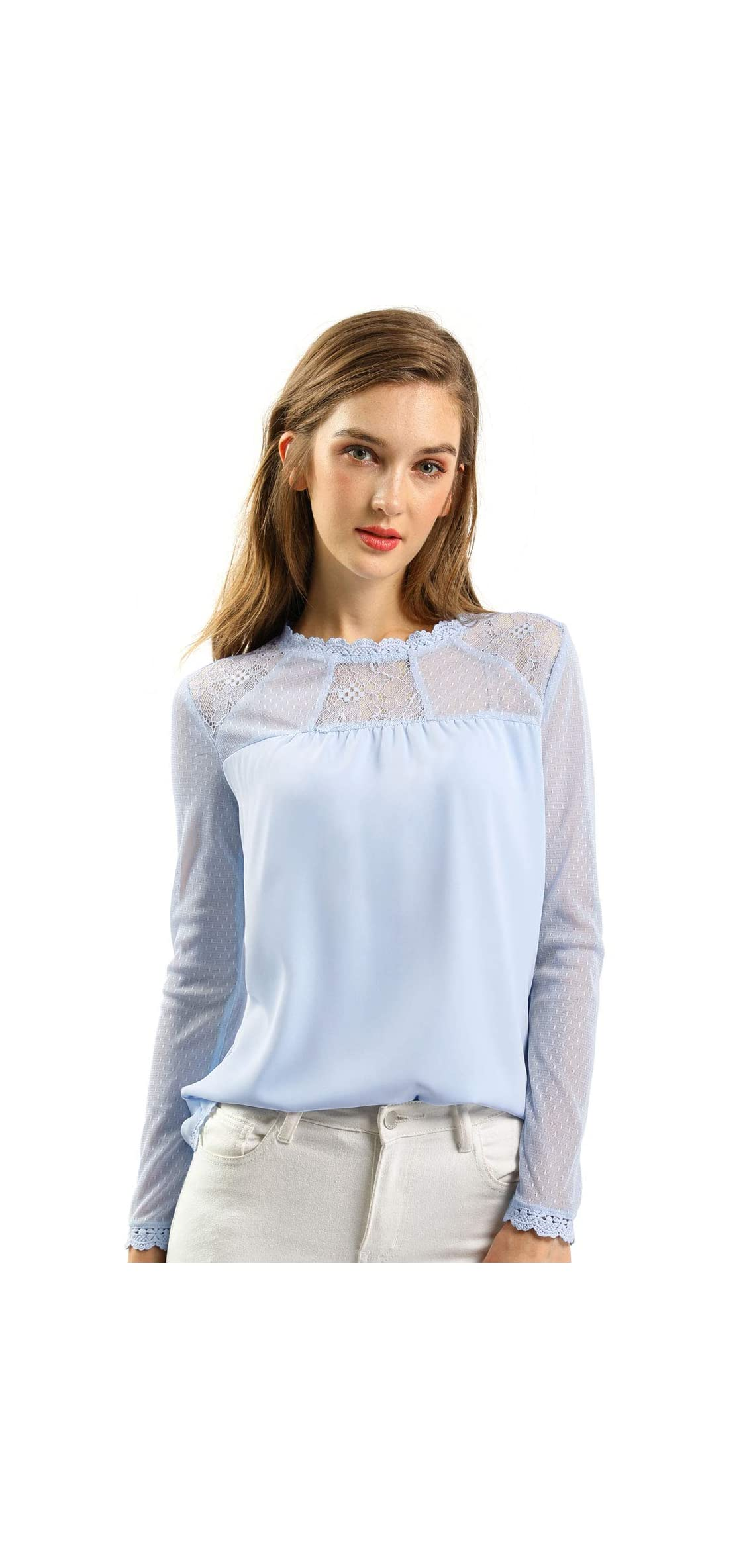 Women's Lace Floral Panel Long Sleeves Peasant Blouse