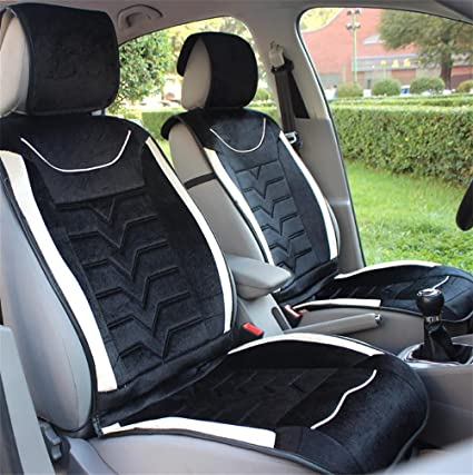 RIRUI Car Seat Covers Deluxe Velour Heated Cushion Black