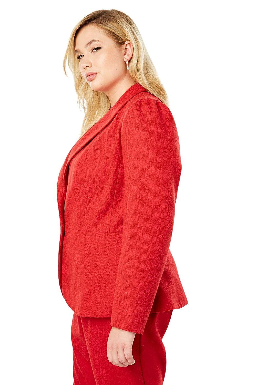 Jessica London Womens Plus Size Wool-Blend Peplum Blazer