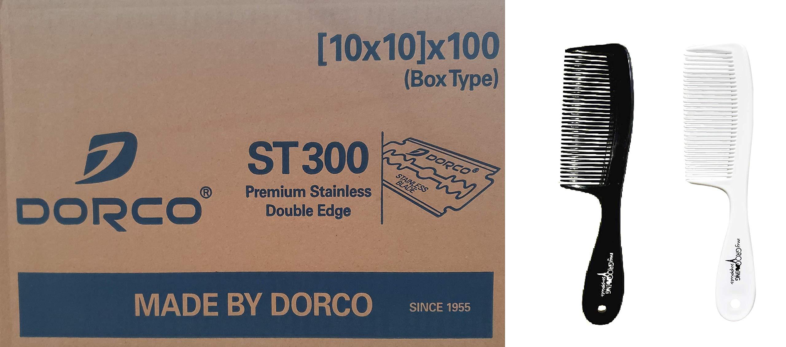 MGS Bundle 10,000 Dorco ST300 Blades & 2 MGS Combs by MyGroomingSupplies