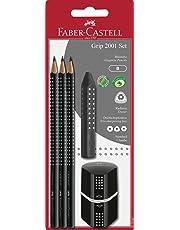 Faber-Castell 217093 - Bleistiftset GRIP 2001, mit 3 Bleistiften, 1 Radierer + 1 Spitzdose, schwarz