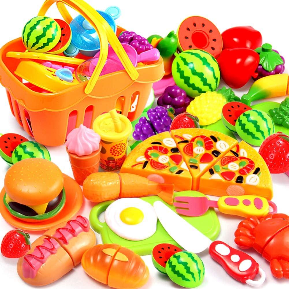 AMOYER 13pcs Pretend Gioca Cucina in Plastica Alimentare Toy Set Cucina Taglio Frutta Verdura Giocattoli Educativi per I Bambini