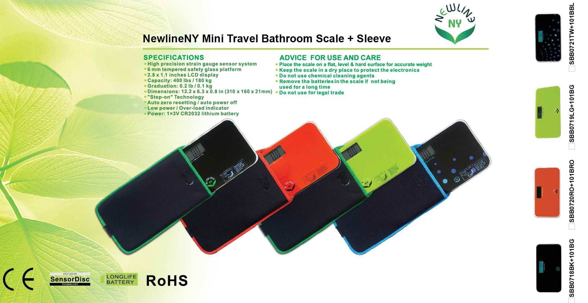 NewlineNY Balck Mini Bathroom Scale with Travel Protection Sleeve, SBB0718MBK+101BG