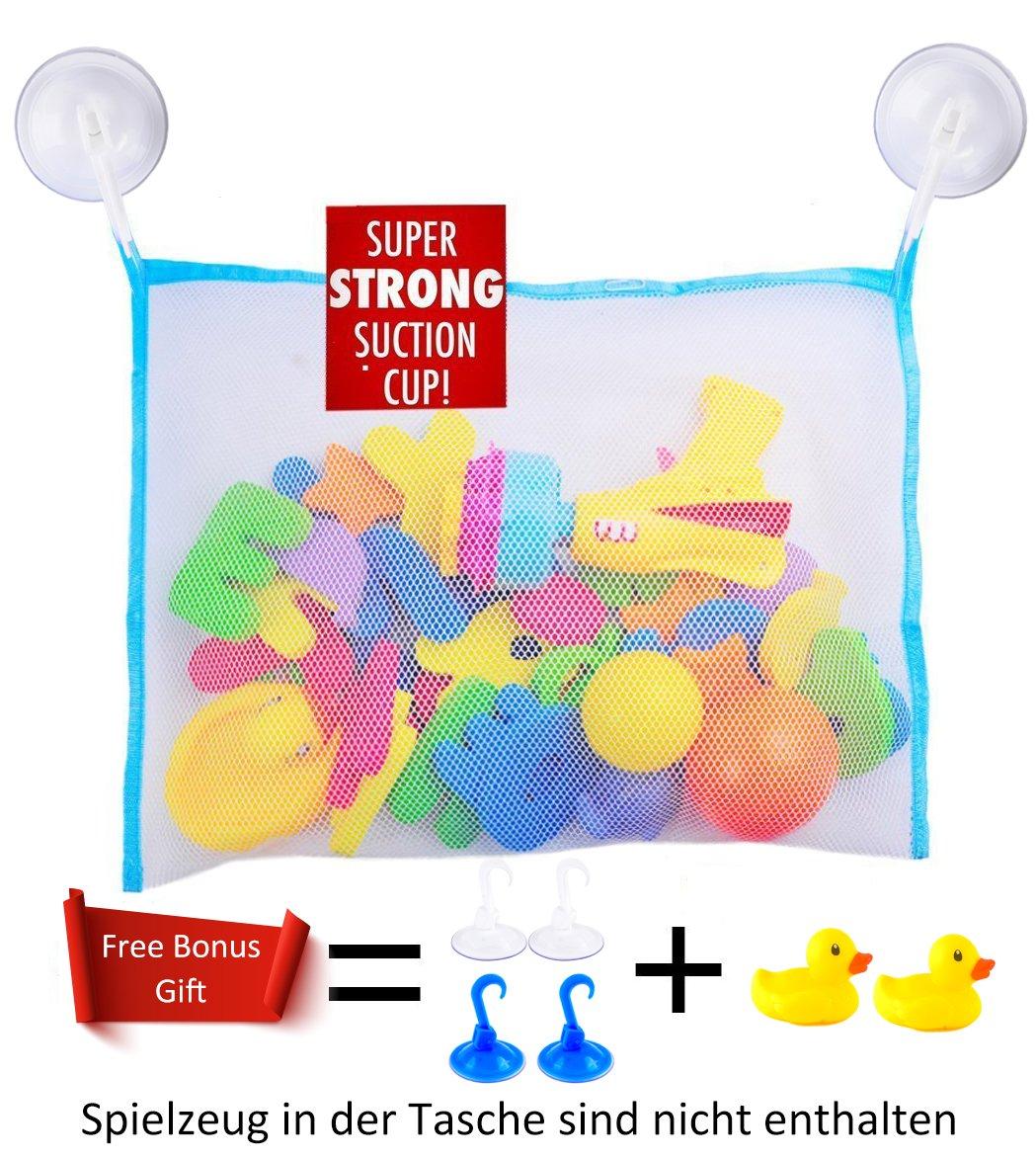 Baby Badespielzeug Aufbewahrung, hochwertiger Badewannenspielzeug Organizer mit 2x Badeenten und 4 Saugnäpfen (Blau) Sunshine