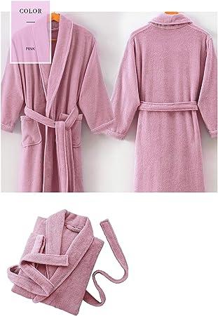 XUMING para Hombre de Las señoras de Albornoz Bata Bata de baño de Rizo Vestidos 100% de algodón con Capucha Batas de Toalla Mujer de los Hombres,Rosado,L: Amazon.es: Hogar