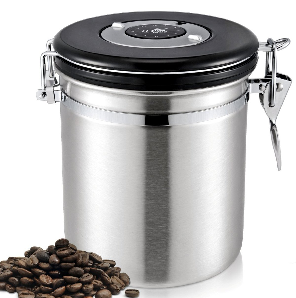 Diguo Coffee Storage Canister Premium Quality Stainless Steel Bean Container for Better Tasting Coffee - Vacuum Seal Vents Away Co2 Gas Coffee Bean Storage Tanks F-2022 (Silver,500g/17oz)