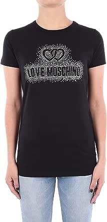 Love Moschino T-Shirt_Two Hearts & Crystal Logo Studs Camiseta para Mujer