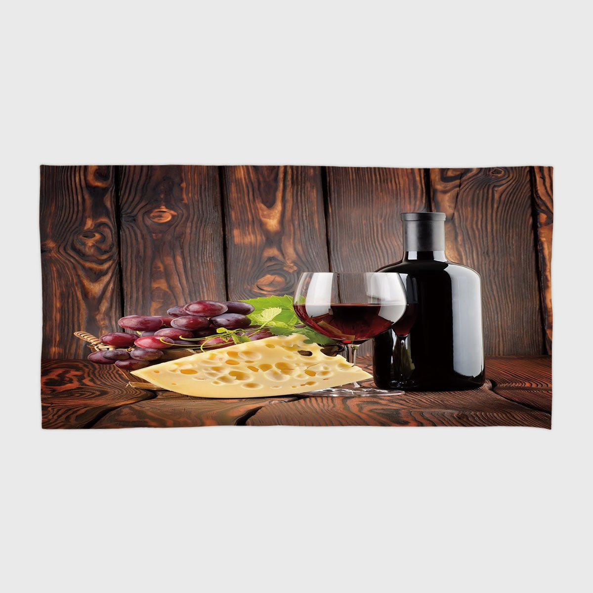 Cotton Microfiber Hotel SPA Beach Pool Bath Hand Towel,Wine,Red Wine Cabernet Bottle and Glass Cheese and Grapes on Wood Planks Print Decorative,Brown Burgundy Cream,for Kids, Teens, and Adults