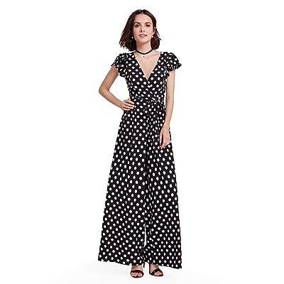 Alisapan Jumpsuit femme Vintage Imprimé à polka dot des 40 années à V-col AS05932