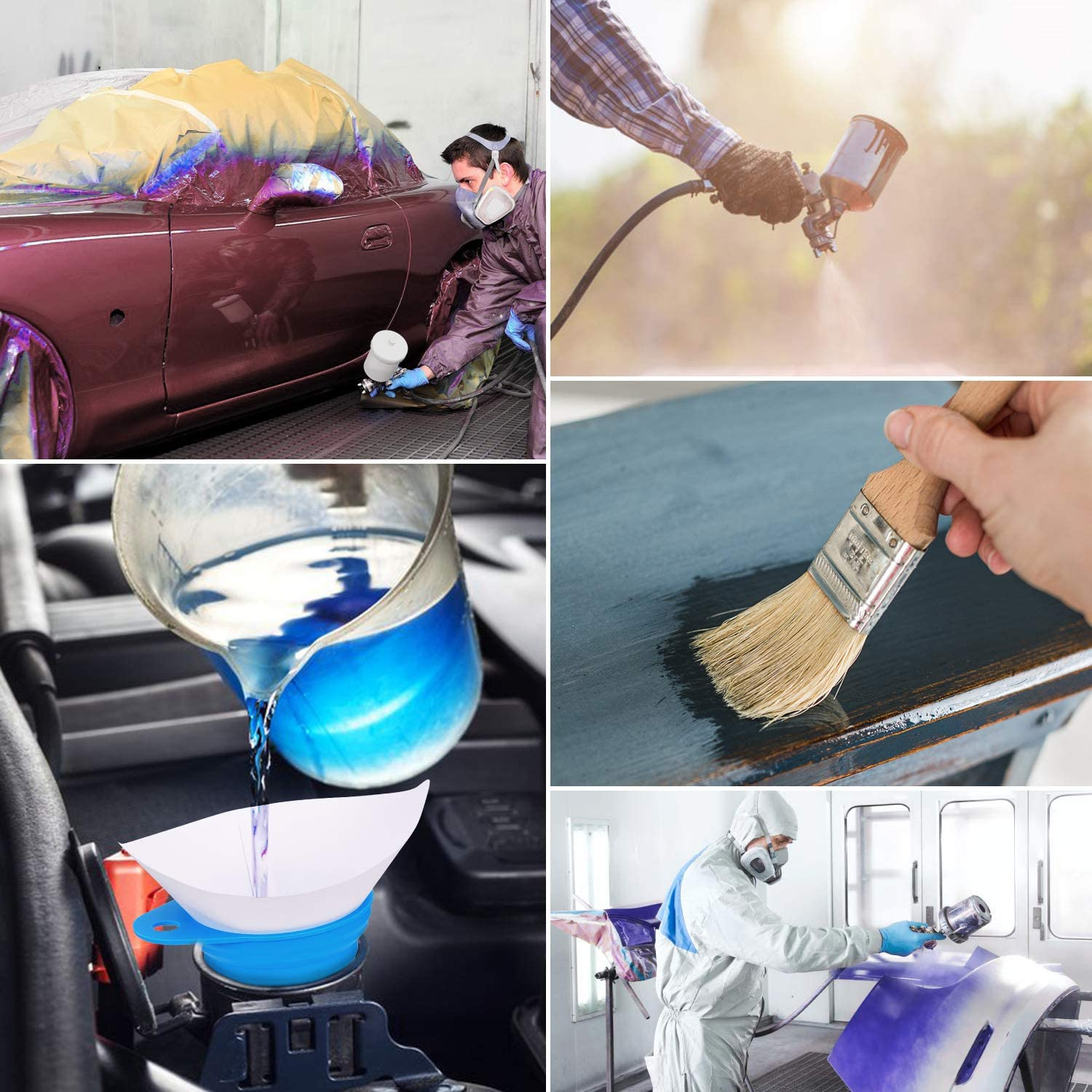 Kohree 151 Disposable Paint Paper Strainers with a collapsible Silicone Funnel Filter Spray Guns etc Paint Filter with Fine Nylon Mesh Cone Paint Strainers Folding Funnel for Automotive
