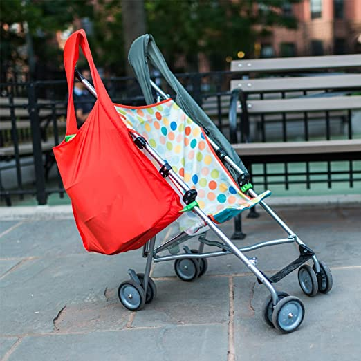 Best Stroller Accessories: a bag that stops your umbrella stroller from tipping.
