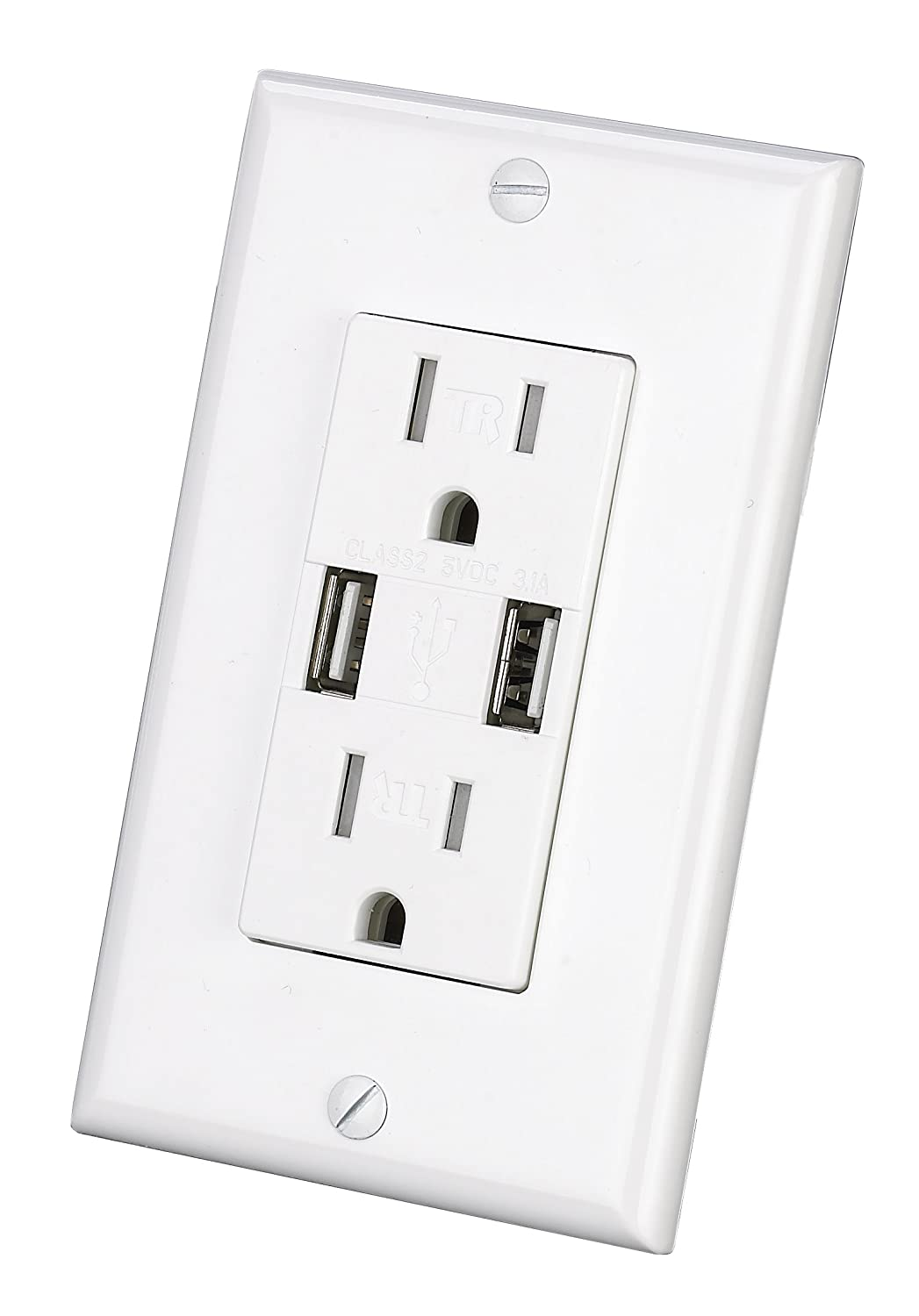 USB Charger Wall Outlet Dual High Speed Duplex Receptacle 15 Amp, Smart  4.8A Quick Charging Capability, Tamper Resistant Outlet Wall plate Included  UL ...