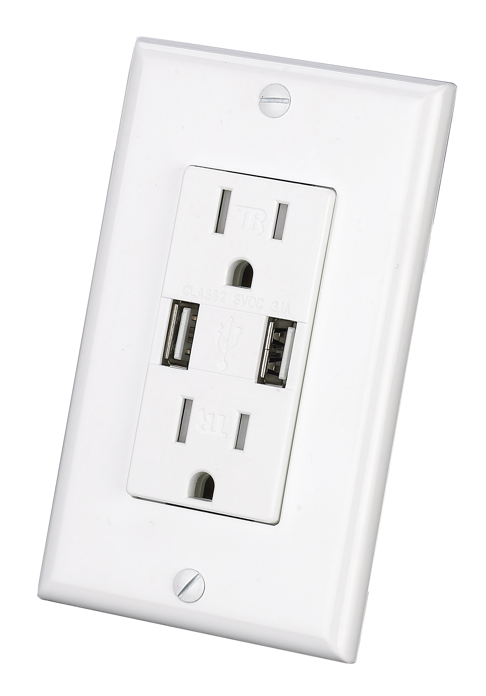 Outlet with USB Charger Wall Dual High Speed Duplex Receptacle 15-Amp, Smart 3.1A Quick Charging Capability, Tamper Resistant Outlet Wall plate Included UL Listed New Upgrade White (USB outlet 1pack) by MICMI (Image #1)