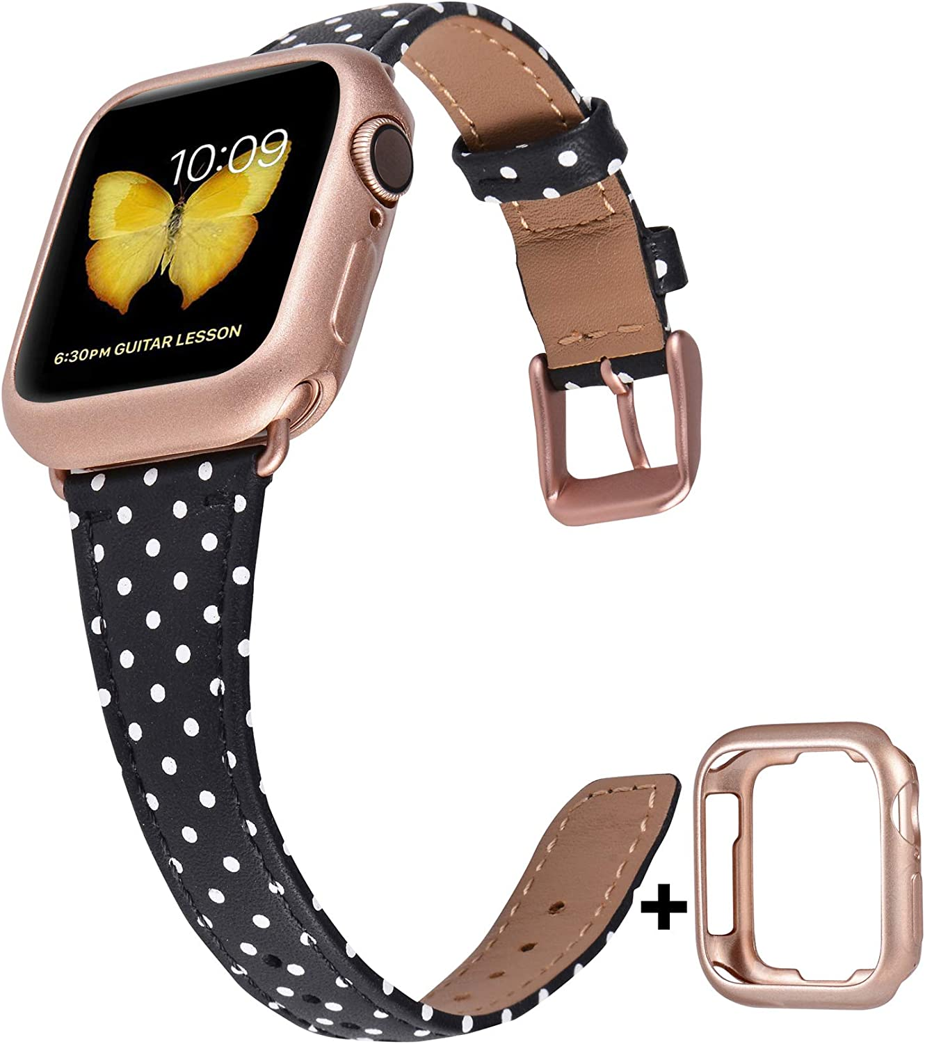 JFdragon Slim Leather Bands Compatible with Apple Watch 38mm 40mm 42mm 44mm Womens Girls Strap for iWatch SE/Series/6/5/4/3/2/1