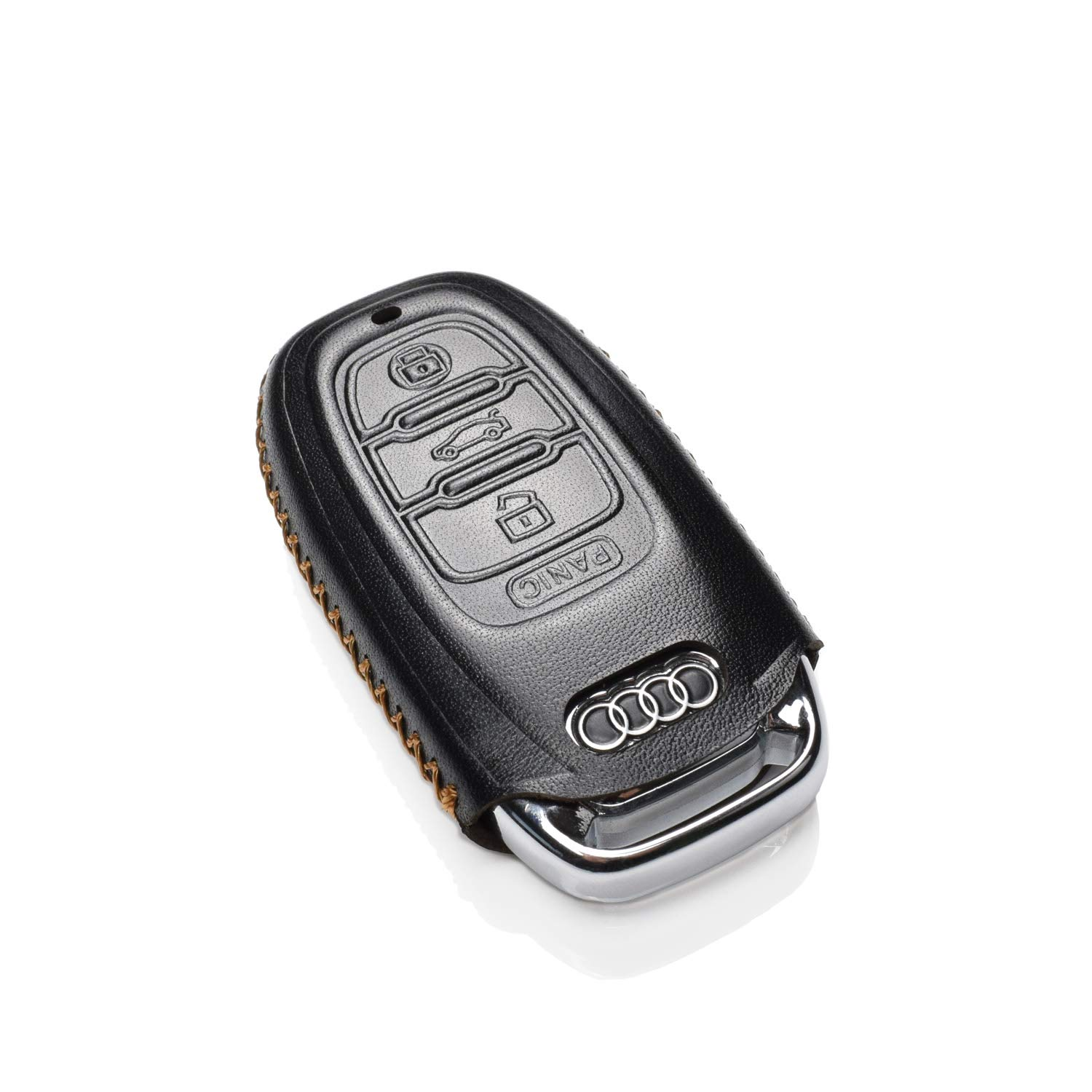 Vitodeco Genuine Leather Keyless Smart Key Fob Case Cover with Key Chain for Audi A1 A3 A4 A5 A6 A7 A8 Q5 Q7 R8 S5 S7 Q5 RS 4 Buttons, Brown