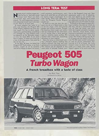 1986 Peugeot 505 Turbo Wagon Roadtest Brochure