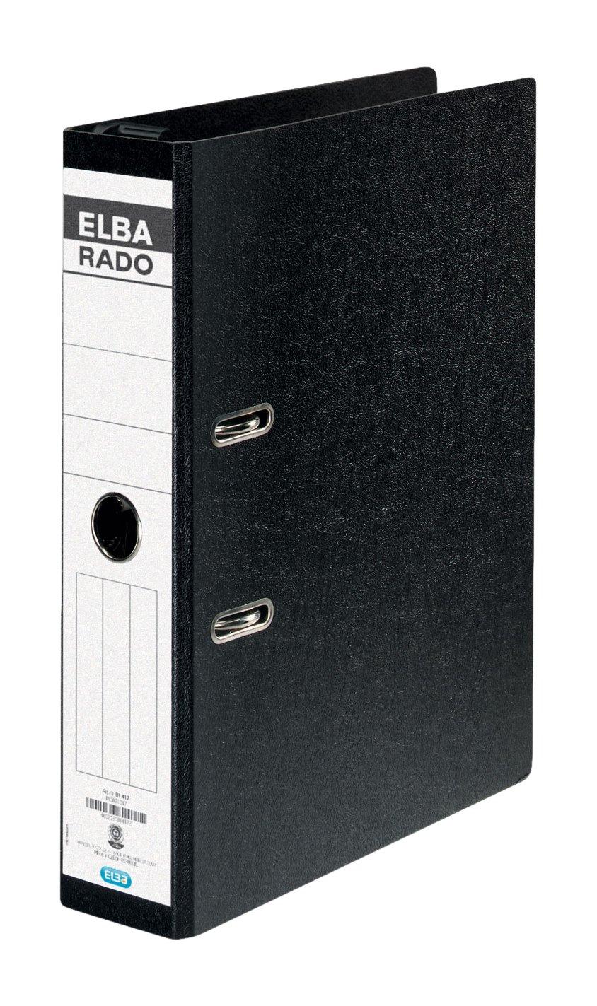 Elba Rado 81417 - Archivador de anillas colgante (A4, 7,5 cm de grosor, etiqueta, 10 unidades), color negro: Amazon.es: Oficina y papelería