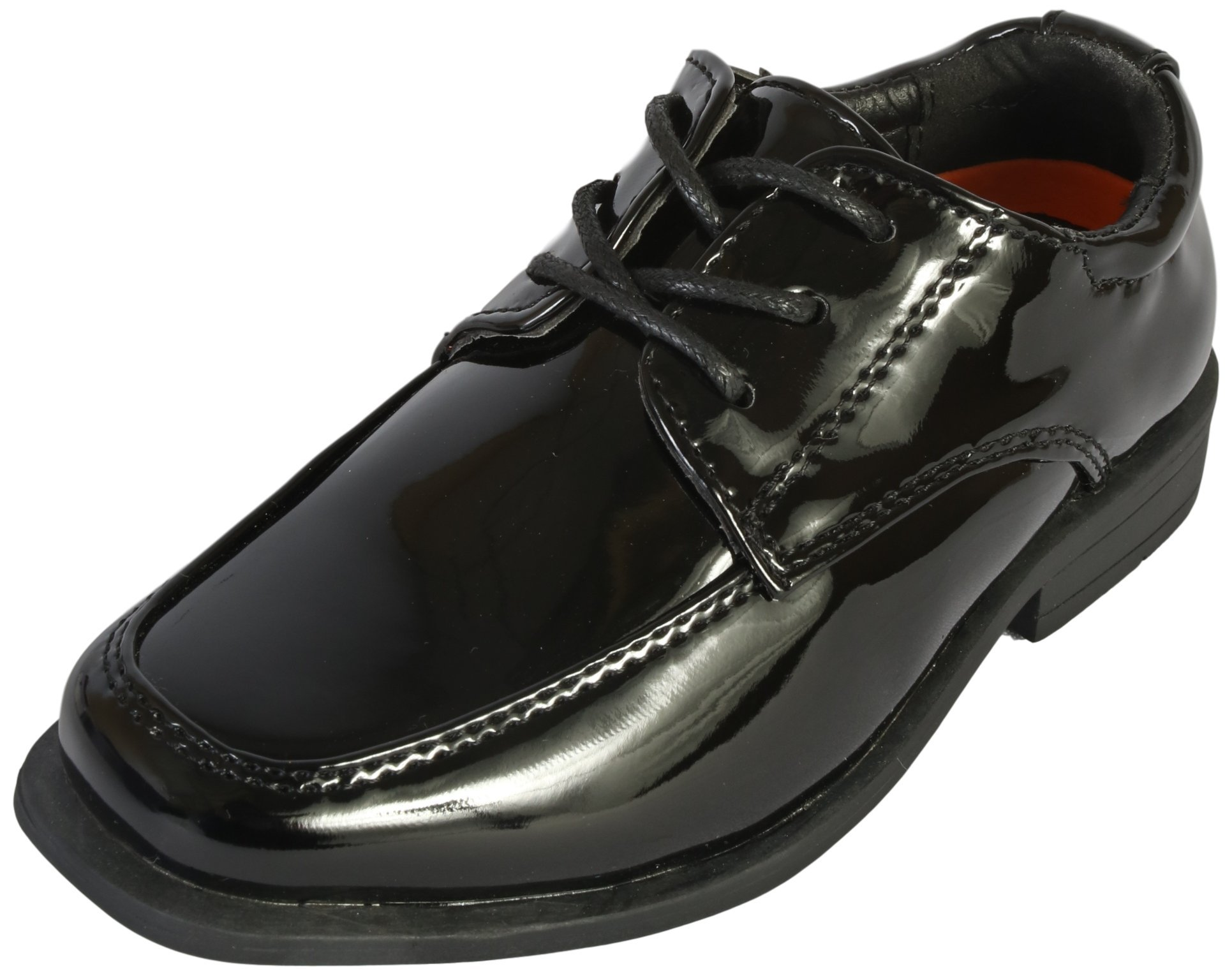 Jodano Collection Boys Memory Foam Lace up Dress Shoe, Black Patent, 11 M US Little Kid'