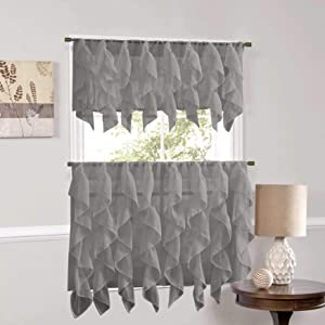 "Sweet Home Collection Veritcal Kitchen Curtain Sheer Cascading Ruffle Waterfall Window Treatment-Choice of Valance, 24"" or 36"" Teir, and Kit, Gray"