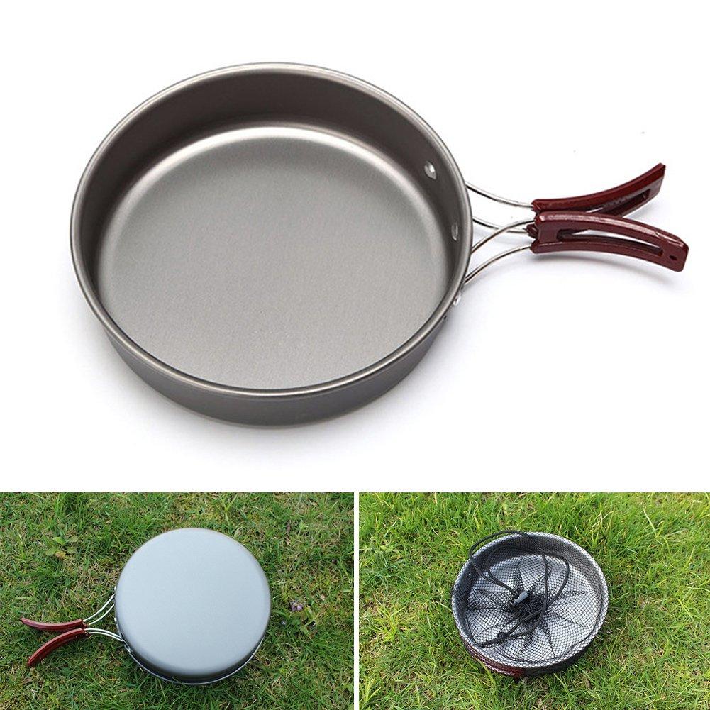 para picnic port/átil con asa plegable para viajes camping Sart/én para camping antiadherente cocina senderismo escalada Tama/ño libre negro