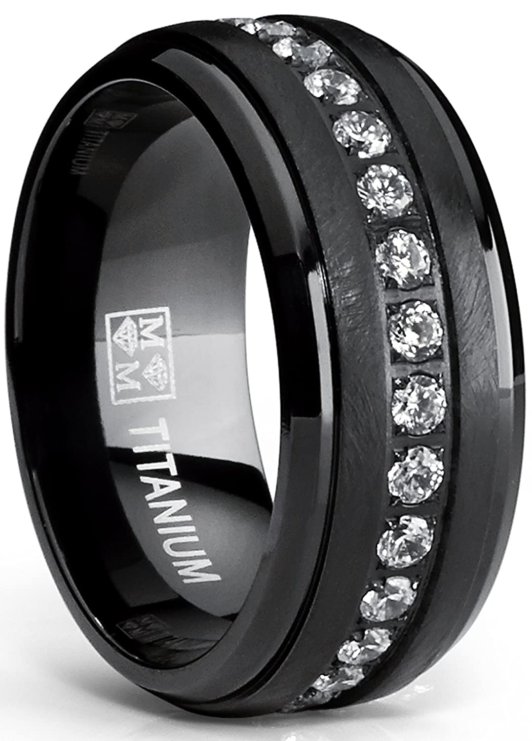Black Titanium Men's Eternity Wedding Band Ring with Clear Round Cubic Zirconia 9mm TIR-1204
