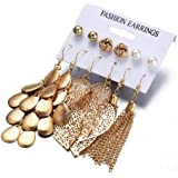 SO-buts 6 Paar Teller Perlen Ohrringe Set/hohle Blätter gewebte Ohrringe/lange Quasten Gold Blätter Multi-Layer-Pailletten hängende Ohrringe Set Perlen (Gold)