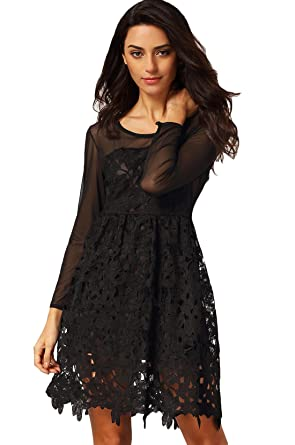 f4be57b1 Image Unavailable. Image not available for. Color: Sheinside Women's Black  Long Sleeve Embroidered Lace Flare Dress