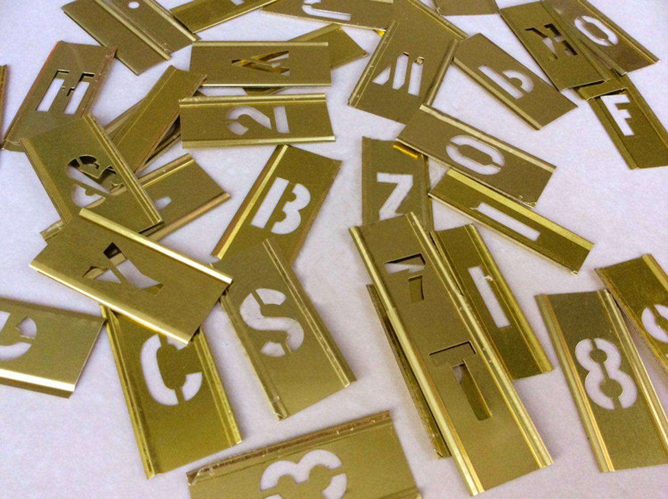 Deezio 4 Inch Brass Interlocking Stencil Set of Numbers and Letters Kit - 46 Piece Set by Deezio (Image #2)