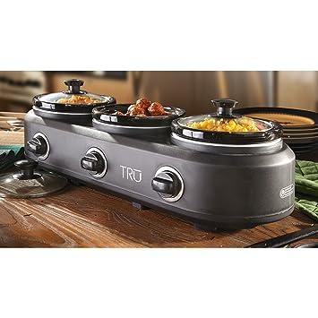 amazon com 3 crock buffet slow cooker tru slow cooker kitchen rh amazon com 3 crock pot buffet walmart 3 crock pot buffet server recipes