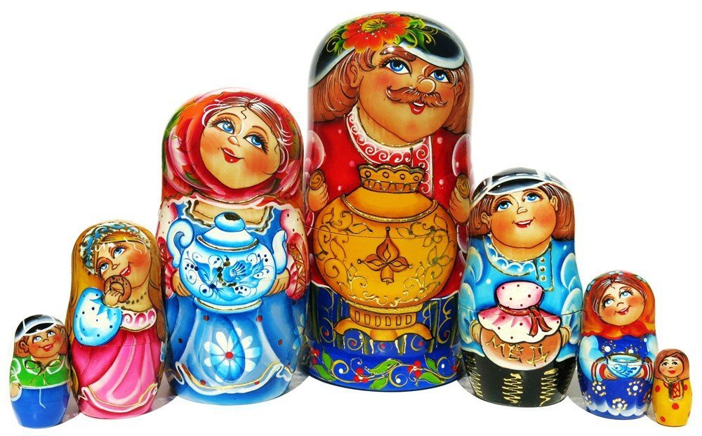Family Tea Party 7 Piece Russian Nesting Doll Wooden Hand Painted Stacking Babushka Country Village Samovar Matryoshka Dolls